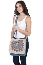 Natural Hemp-Cotton Eco Mandala hippie boho Cross body Messenger Bag sling bag-Brown