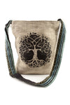 Tree of Life Canvas Crossbody Sling Purse with Tranquil Boho Stripes, Made with Hemp and Cotton, Great For Festivals, Beach, Everyday Wear & More