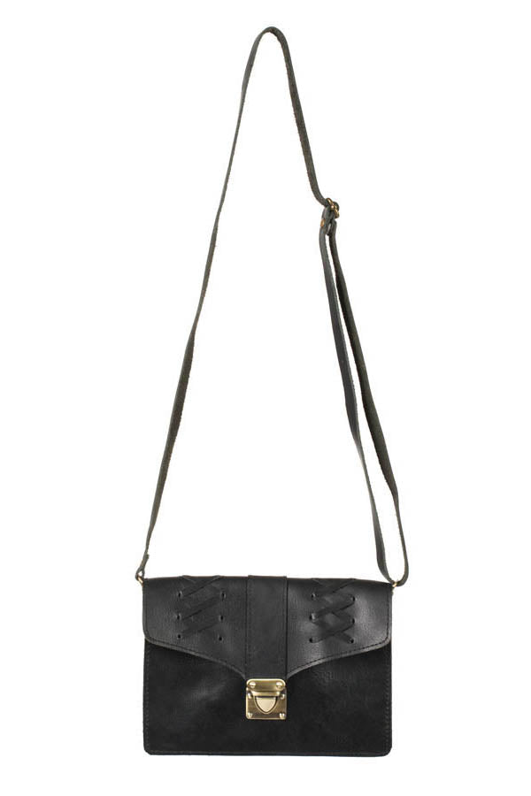 Hippie Leather Lacing Convertible Crossbody Belt Bag