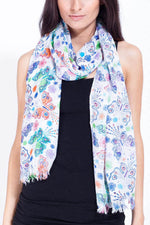 Women's boho Urban butterfly print spring scarf stole