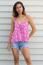 Lace Front Leaf Tank Top