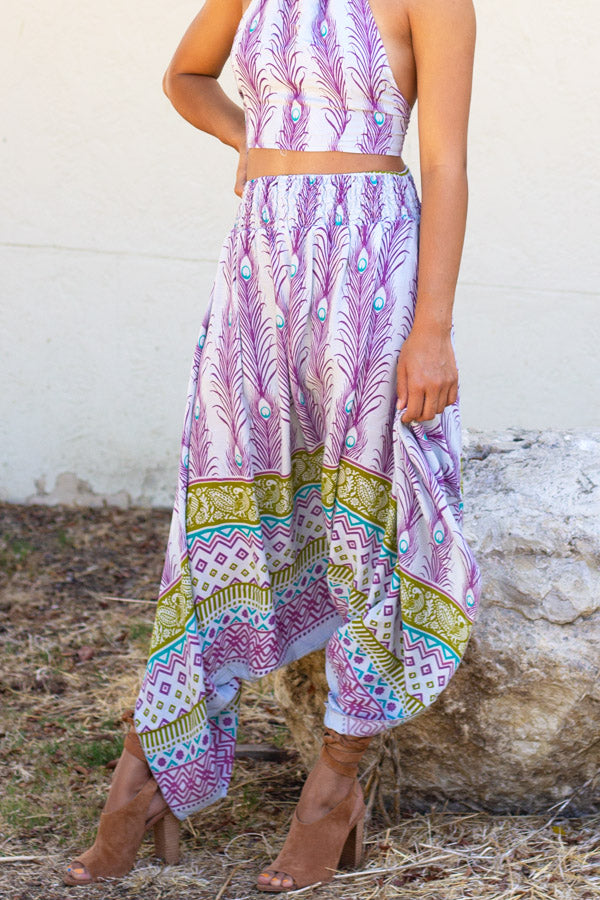 Peacock Feather Print Harem pant