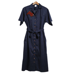 Short sleeve dot shirt dress(Navy)/Koro