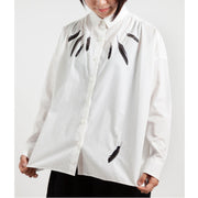 Doted Wide Shirt/Crow Feathers