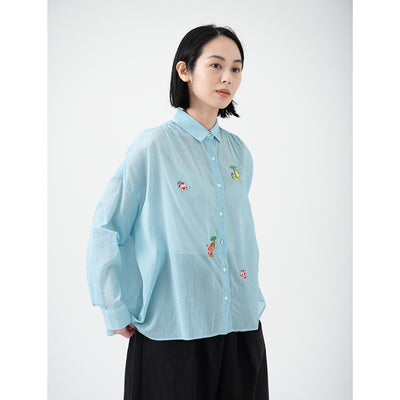 Wide Crepe Shirt/Goldfish (Sky Blue)