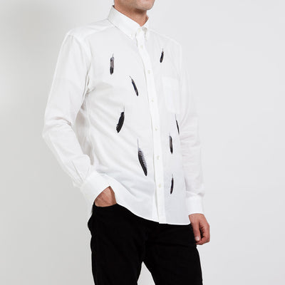 Men's Shirt/Crow Feathers (White)