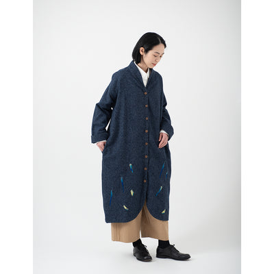 Long Coat(Navy)/Parakeet Feathers