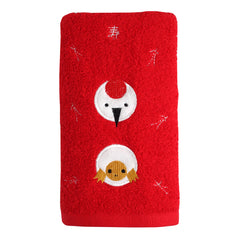 Face Towel/Crane and Turtle [Red]