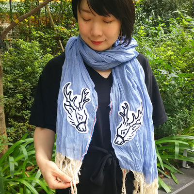Banshu Weaved Stole/Deers (Blue)