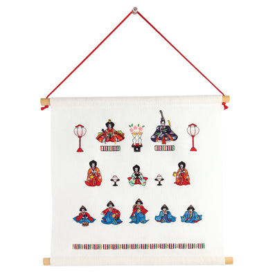 Tapestry/Three Rows Hina Dolls, White