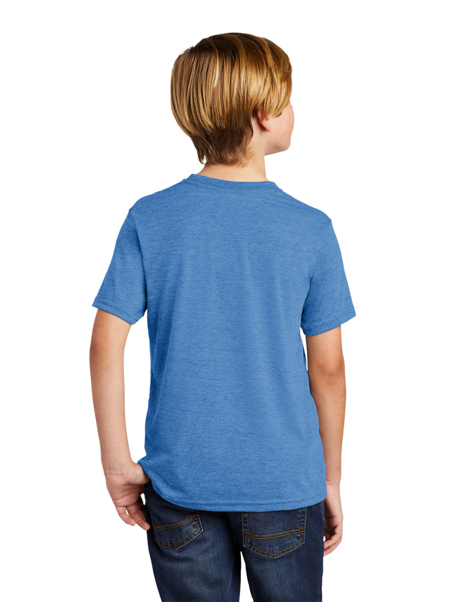 Allmade Youth Azure Blue Tri-Blend Short Sleeve Crew Neck T-Shirt | Allmade® Apparel