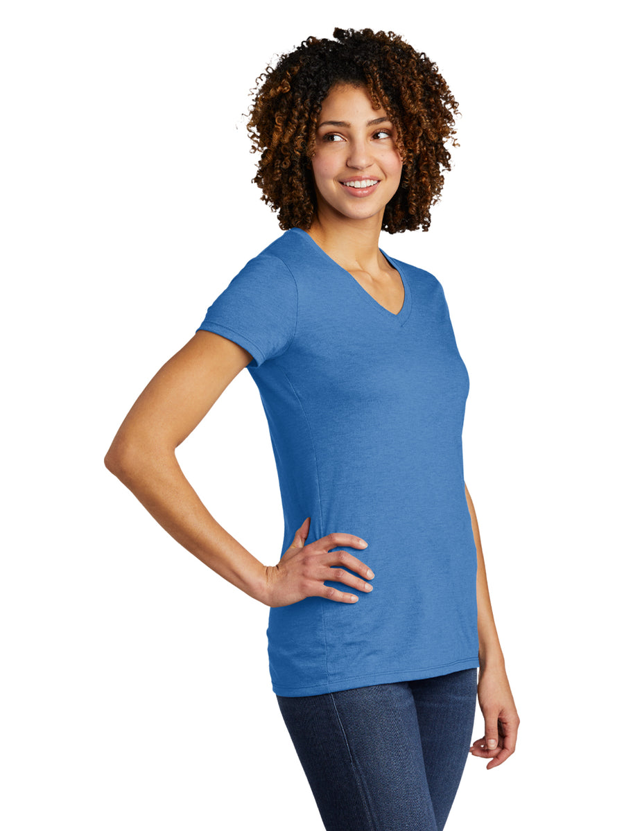 Allmade Women's Azure Blue Tri-Blend Short Sleeve V-Neck T-Shirt | Allmade® Apparel