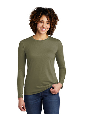 Allmade Women's Olive You Green Tri-Blend Long Sleeve Crew Neck T-Shirt | Allmade® Apparel