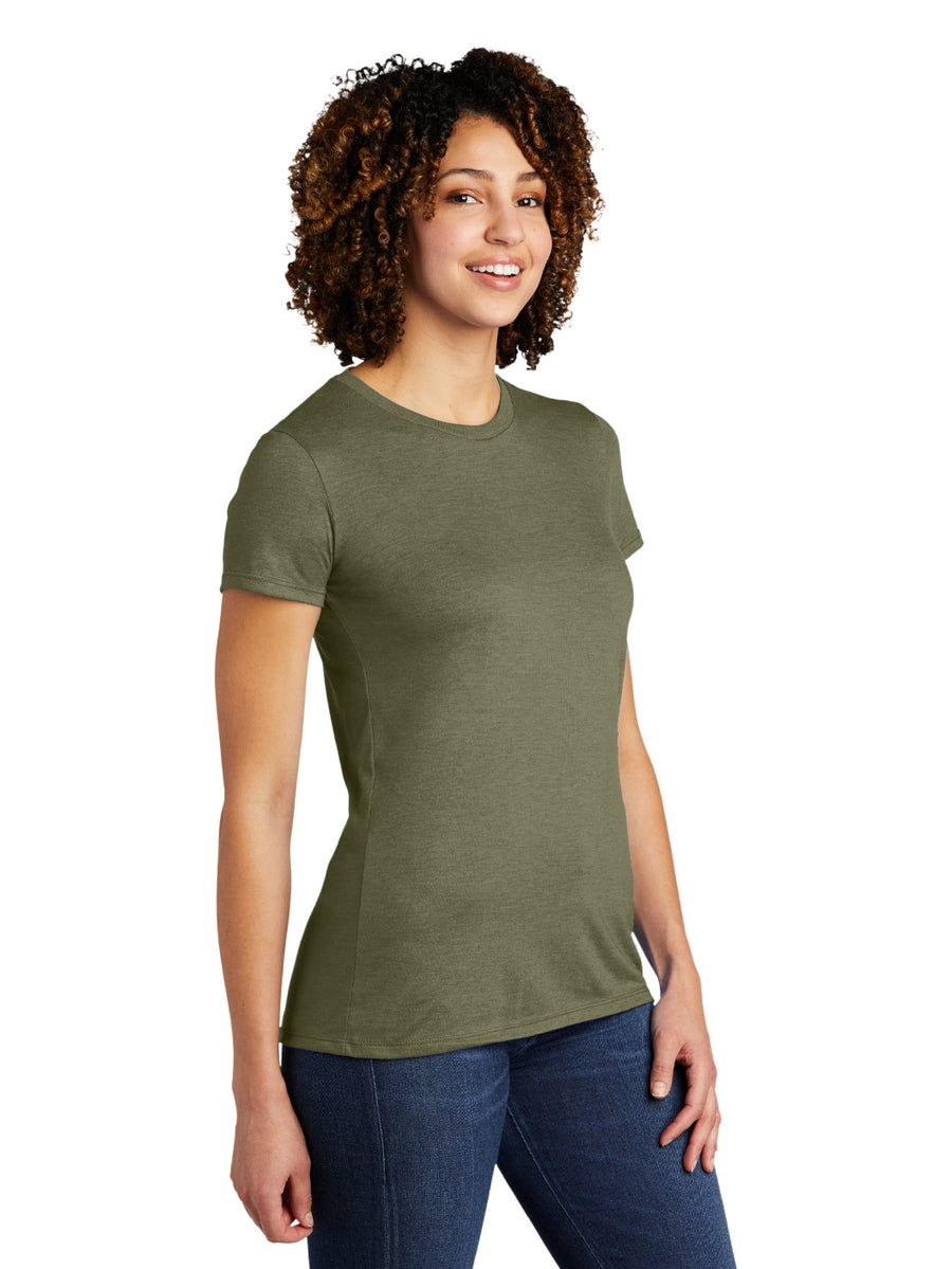 Allmade Women's Olive Green Tri-Blend Short Sleeve Crew Neck T-Shirt | Allmade® Apparel