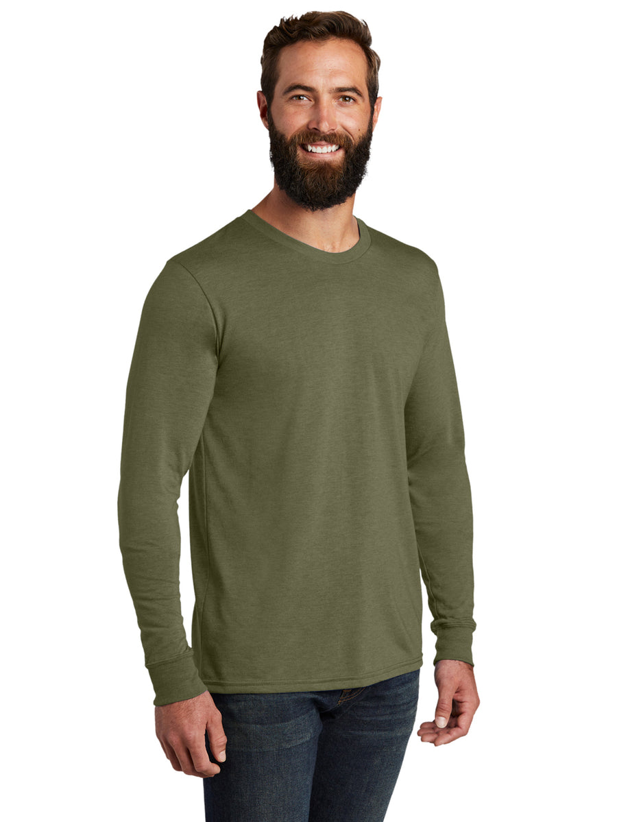 Allmade Men's Olive You Green Tri-Blend Long Sleeve Crew Neck T-Shirt | Allmade® Apparel
