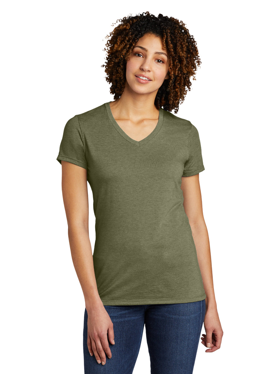 Allmade Women's Olive You Green Tri-Blend Short Sleeve V-Neck T-Shirt | Allmade® Apparel
