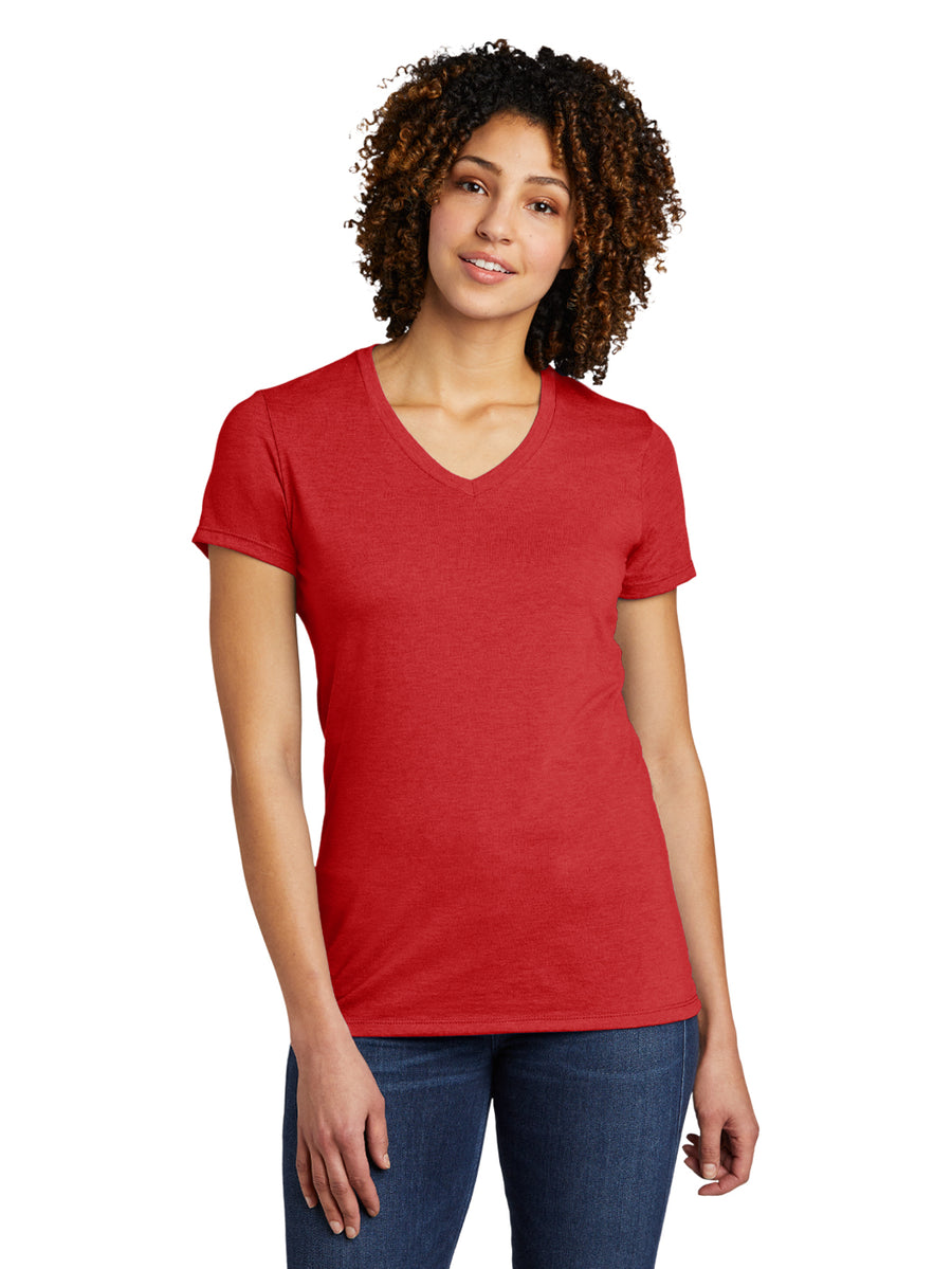 Allmade Women's Rise Up Red Tri-Blend Short Sleeve V-Neck T-Shirt | Allmade® Apparel