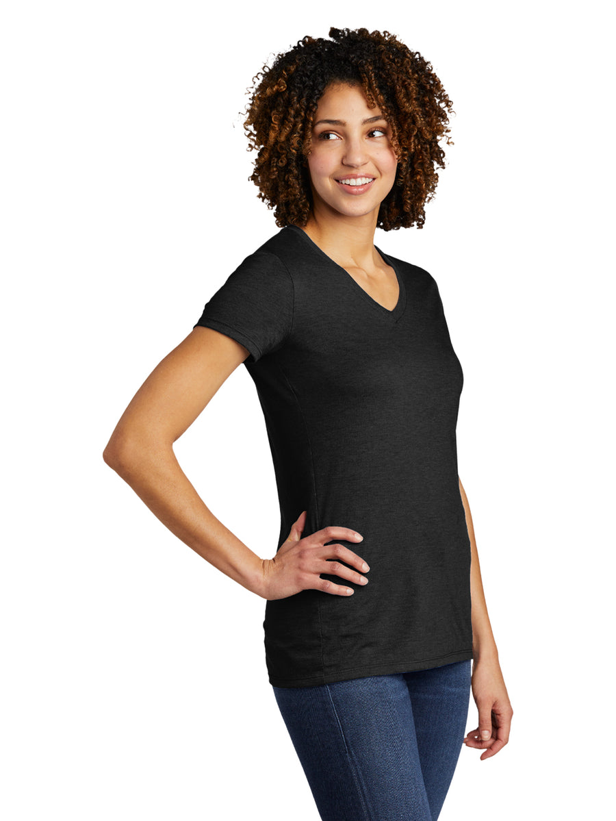 Allmade Women's Space Black Tri-Blend Short Sleeve V-Neck T-Shirt | Allmade® Apparel