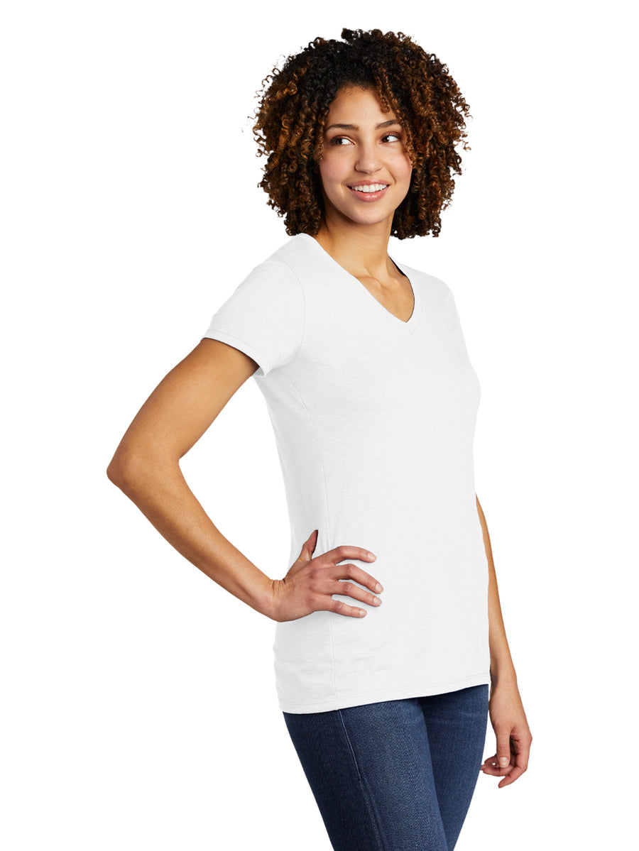 Allmade Women's Fairly White Tri-Blend Short Sleeve V-Neck T-Shirt | Allmade® Apparel