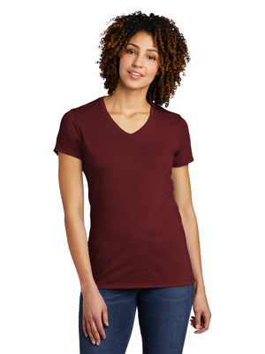Allmade Women's Vino Red Tri-Blend Short Sleeve V-Neck T-Shirt | Allmade® Apparel