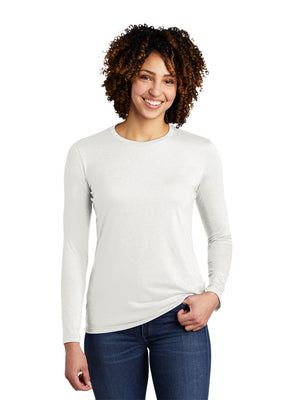 Allmade Women's Fairly White Tri-Blend Long Sleeve Crew Neck T-Shirt | Allmade® Apparel