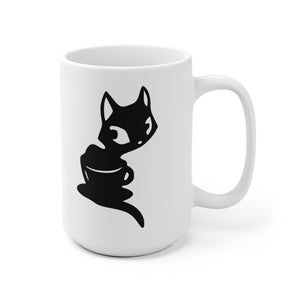 Coffee Kitten Mug white mug with block logo