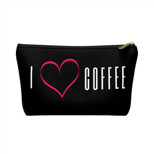 Black I heart coffee pouch front