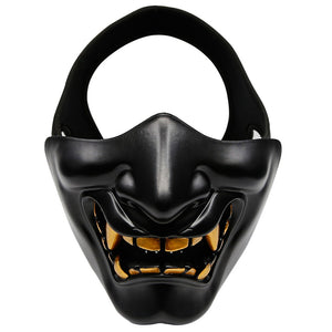Tactical Half Face Mask Protective Mask Devil Evil Smile for Airsoft CS Military Hunting Halloween Party Cosplay Paintball
