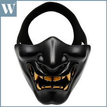 Load image into Gallery viewer, Tactical Half Face Mask Protective Mask Devil Evil Smile for Airsoft CS Military Hunting Halloween Party Cosplay Paintball