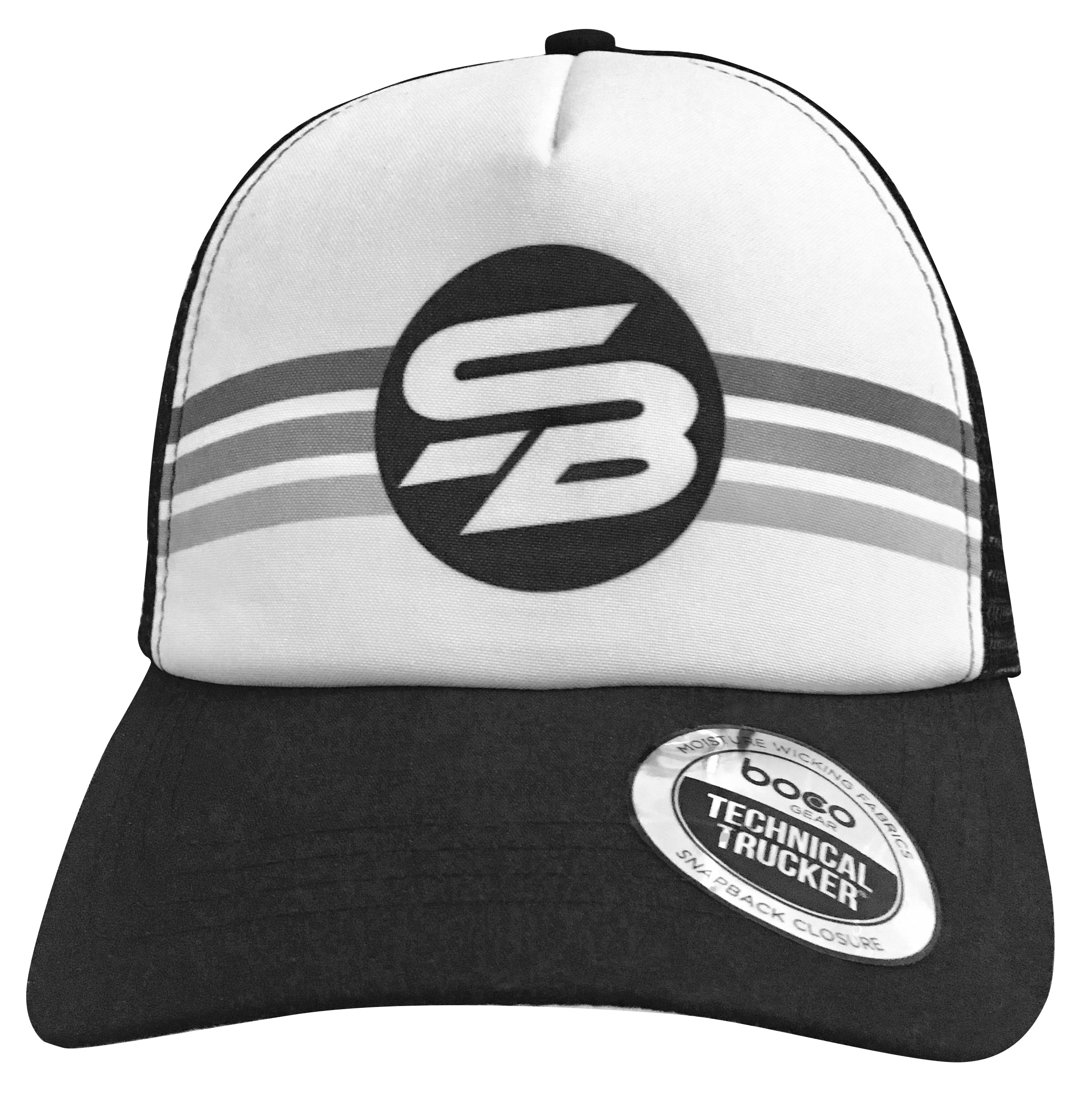 New Logo Black n White Striped Foam Trucker