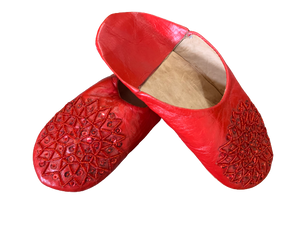 Red Sequined Leather Slippers