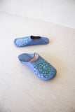 Perriwinkle Sequined Leather Slippers