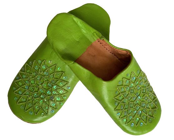 Green Sequined Leather Slippers