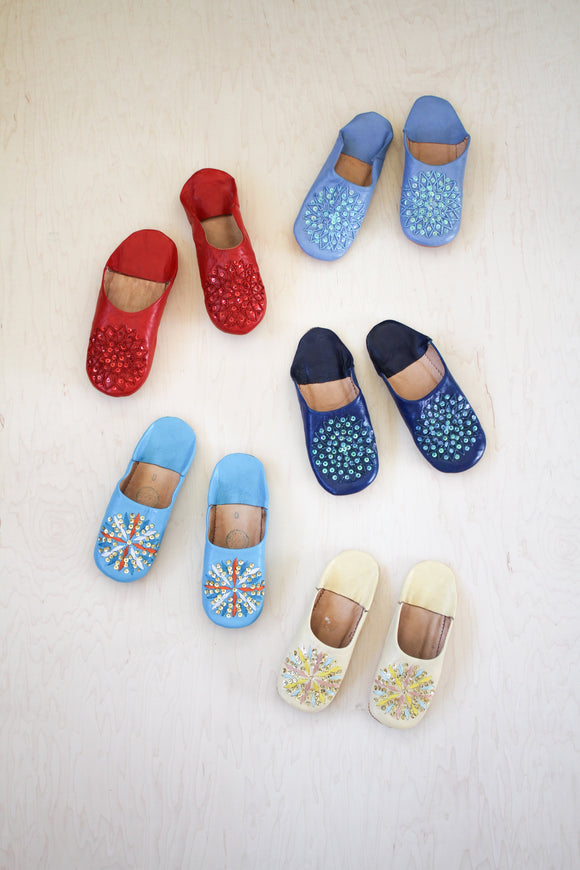 LOOM Imports -Sequined Leather Slippers