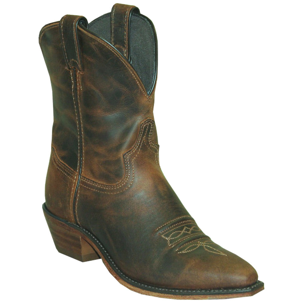 "Abilene Women's 7"" Distressed Brown Snip Toe Cowgirl Boots"