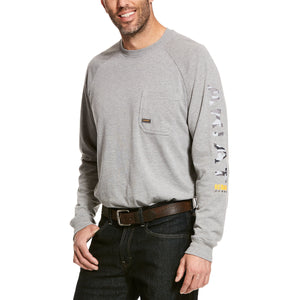 Ariat Men's Grey Rebar Cotton Strong Graphic Long Sleeve T-Shirt