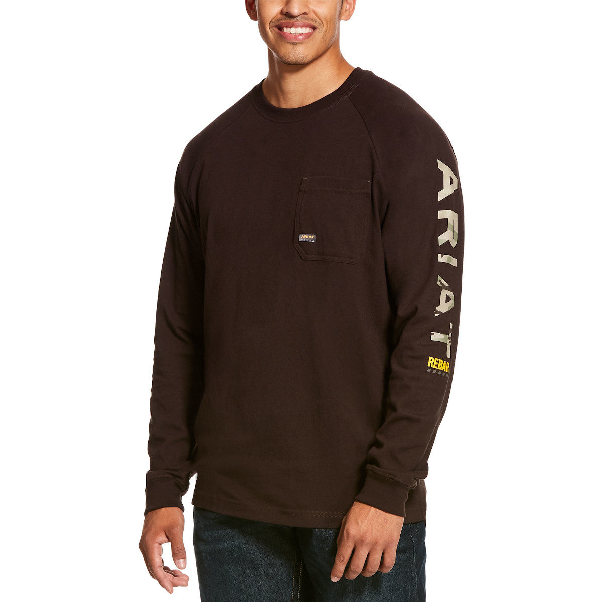 Ariat Men's Brown Rebar Cotton Strong Graphic Long Sleeve T-Shirt