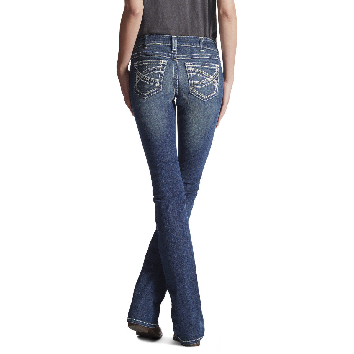 Ariat Women's R.E.A.L. Mid Rise Entwined Boot Cut Riding Jeans