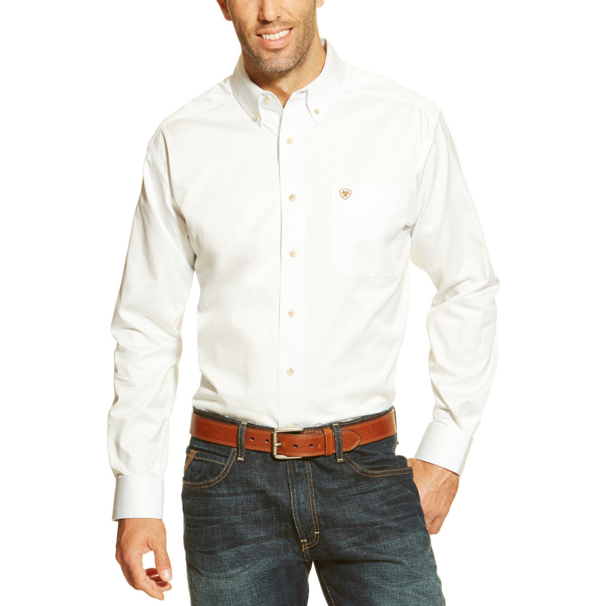 Ariat Men's White Solid Twill Long Sleeve Western Shirt