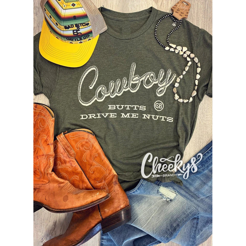 Cheeky's Women's Cowboy Butts Drive Me Nuts Short Sleeve Tee