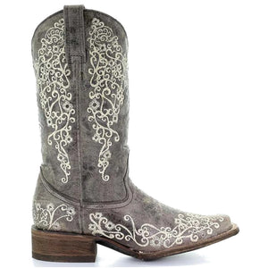 Corral Women's Crater Bone Embroidered Square Toe Cowgirl Boots
