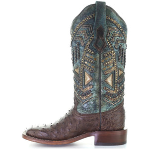 Corral Women's Ostrich Studded Square Toe Cowgirl Boots