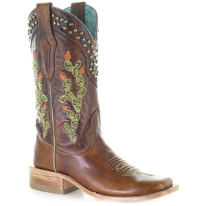 Corral Women's Cactus Embroidered Studded Cowgirl Boots