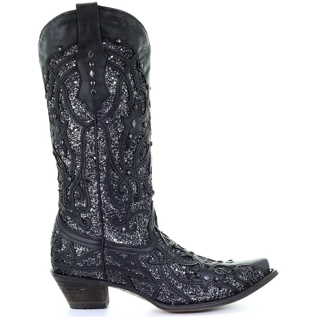 Corral Women's Black/Grey Glitter Inlay Snip Toe Cowgirl Boots