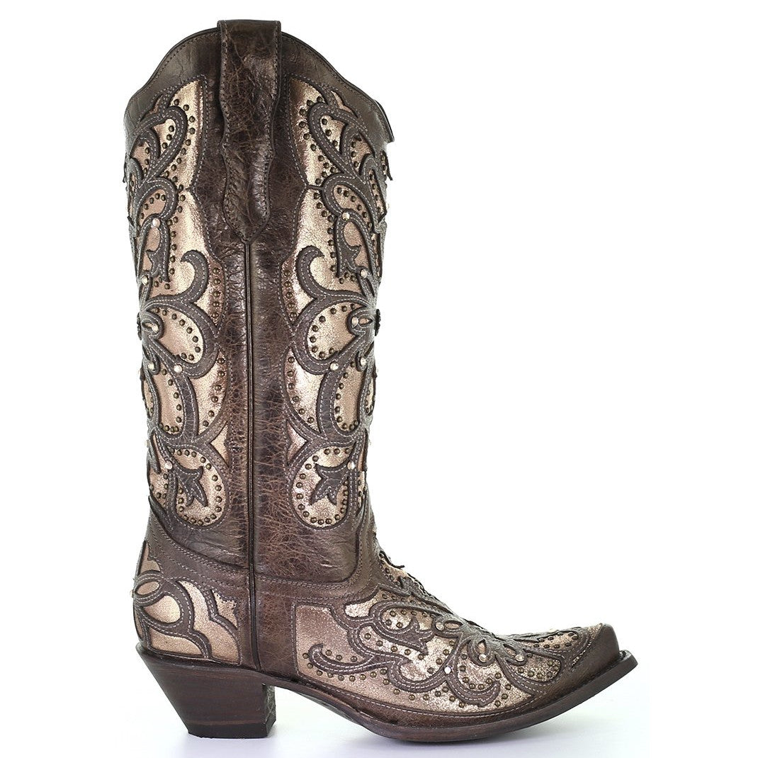 Corral Women's Metallic Inlay Studded Snip Toe Cowgirl Boots