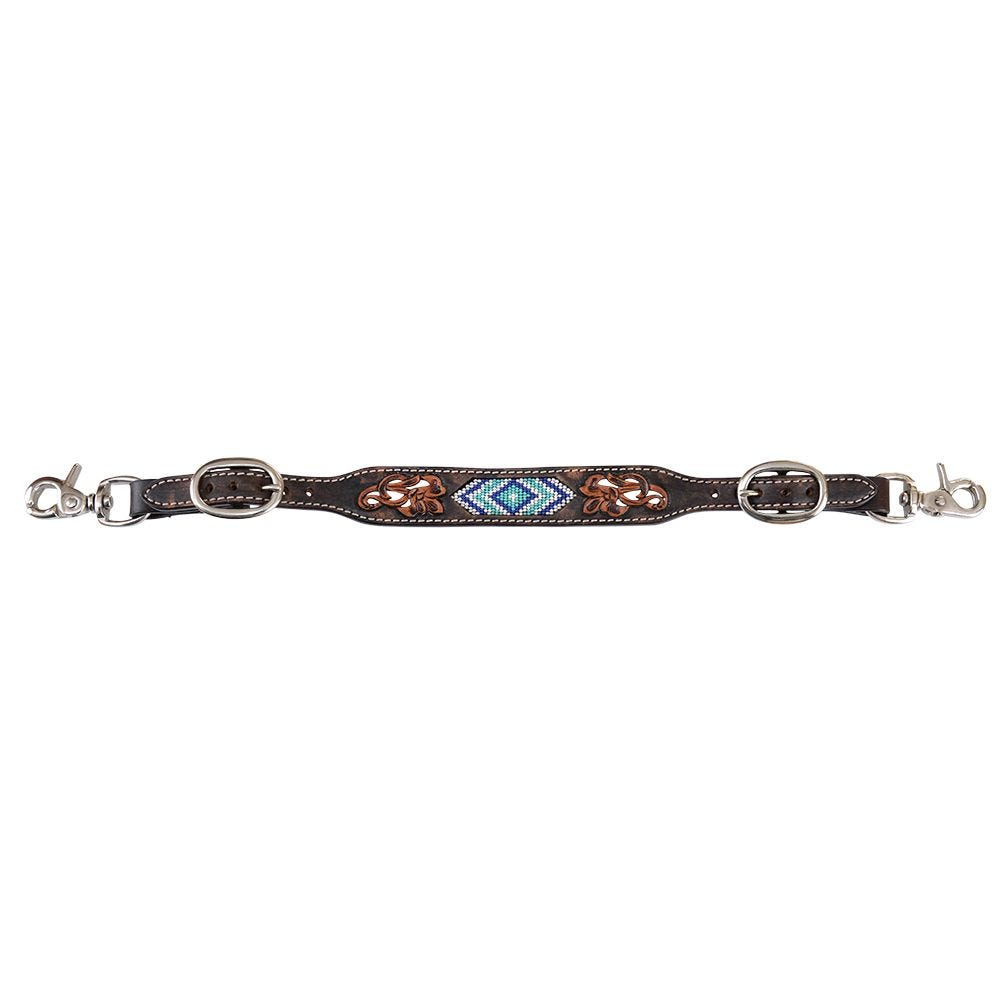 Circle Y Blue Diamond Beaded Distressed Wither Strap