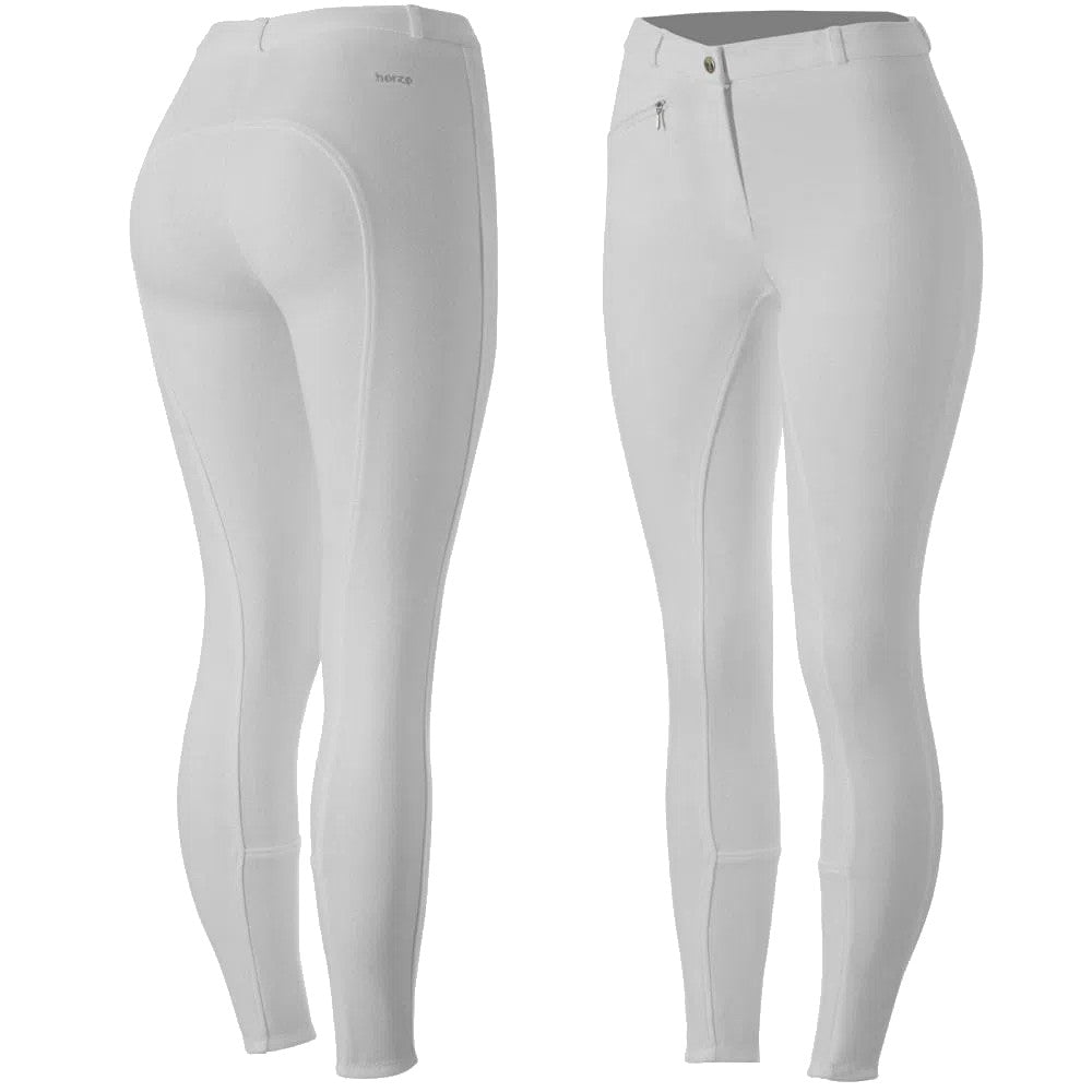 Horze Women's White Active Silicone Full Seat Breeches