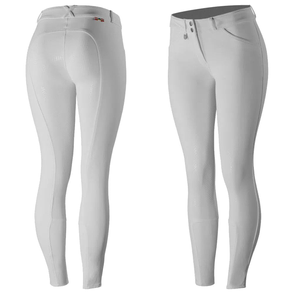 Horze Women's White Grand Prix Silicone Full Seat Breeches