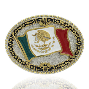 Montana Silversmiths Grand Mexican Flag Attitude Belt Buckle