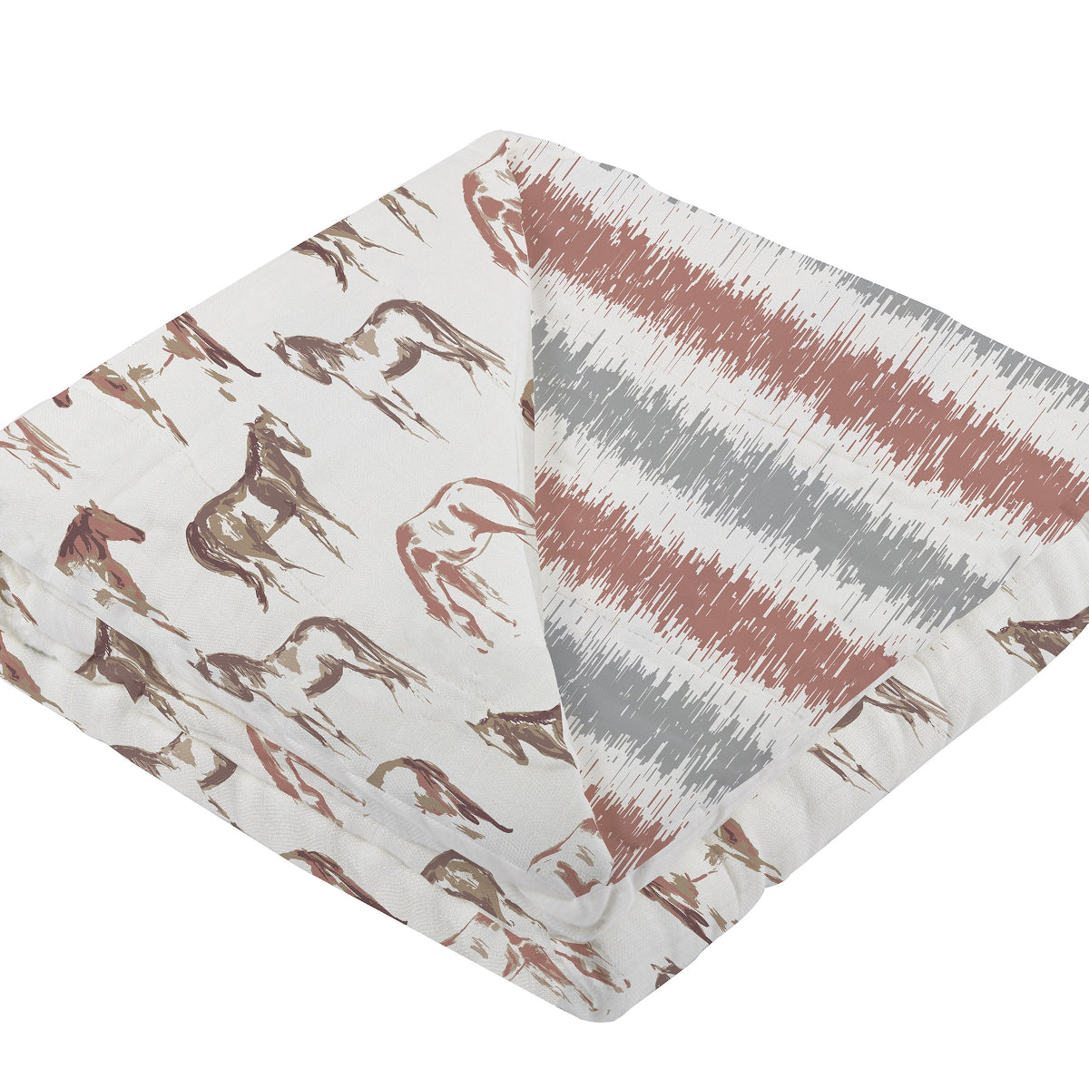 Newcastle Classics Kids' Wild Horses & Western Stripe Double Sided Blanket